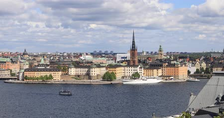 High angle zoom in view on Riddarholmen (Knights islet) island in Stockholm, Sweden Стоковые видеозаписи