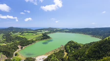 Aerial view of Furnas lake (Lagoa das Furnas), Sao Miguel island, Azores, Portugal (time lapse video)