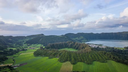 Aerial view of Caldeira Seca in Sete Cidades volcano complex, Sao Miguel island, Azores, Portugal (time lapse video)