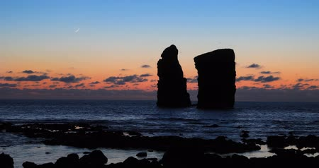 Rocks of Mosteiros on sunset, Sao Miguel island, Azores, Portugal