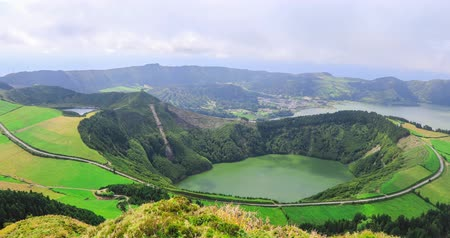 Panorama of Lagoa de Santiago located in Sete Cidades volcano complex, Sao Miguel island, Azores, Portugal
