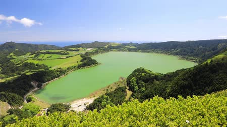 Panorama of Furnas lake (Lagoa das Furnas), Sao Miguel island, Azores, Portugal Стоковые видеозаписи