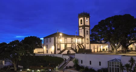 the azores : Town hall of Ribeira Grande town at dusk, Sao Miguel island, Azores, Portugal Stock Footage