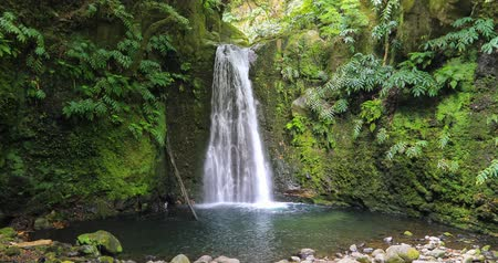 terra : Salto do Prego waterfall located on Prego river near Faial Da Terra, Sao Miguel Island, Azores, Portugal Stock Footage