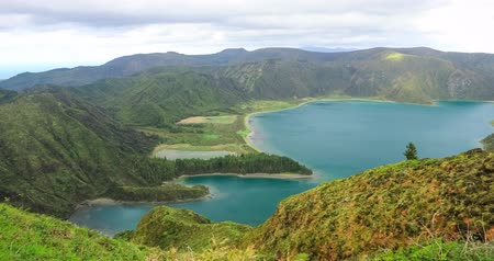 miradouro : Panorama of Lagoa do Fogo (LakeLagoon of Fire) - a crater lake in the center of Sao Miguel island, Azores, Portugal