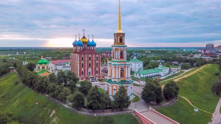 Ryazan kremlin on sunrise (aerial view), Ryazan, Russia