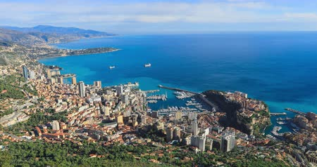 Aerial panorama of Monaco made from The Dog Head Cliff (La Tete De Chien)
