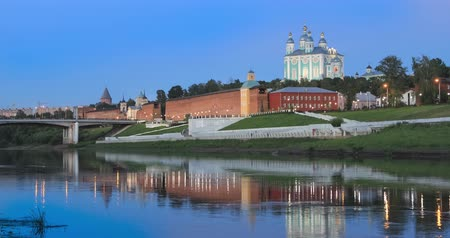 Smolensk in the evening. Kremlin wall and cathedral reflecting in Dnepr river