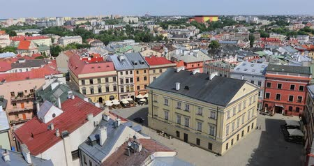 the city : Aerial panoramic view of Rynek square in old town of Lublin from Trynitarska Tower, Poland