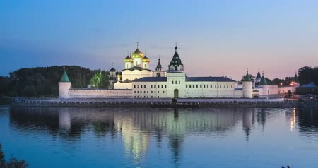 Ipatiev Monastery reflecting in water at dusk, Kostroma, Russia