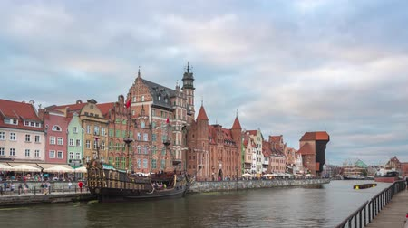 View of embankment of Motlawa in the evening, Gdansk, Poland Стоковые видеозаписи