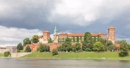 wawel : View of Wawel Royal Castle from riverside in Krakow, Poland (time lapse video) Stock Footage