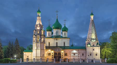 bell tower : Church of Elijah the Prophet at dusk in Yaroslavl, Russia  (static image with animated sky)