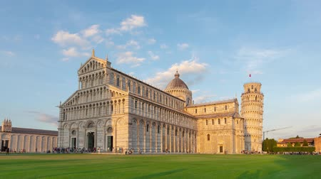 Leaning Tower of Pisa and Pisa Cathedral - zoom in time lapse video, Italy