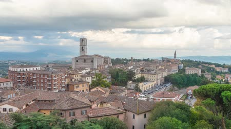 Cityscape of Perugia with basilica of  San Domenico, Italy