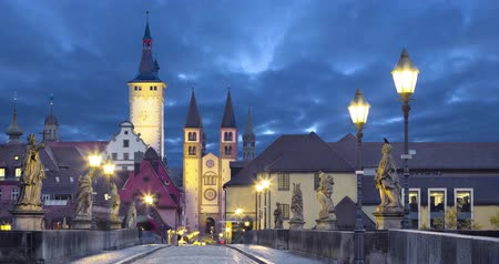 Old town of Wurzburg, Germany at dusk. View from Old Main Bridge  (static image with animated sky)