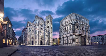 Florence at dusk. View of Cathedral of Santa Maria del Fiore, Italy (static image with animated sky)