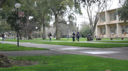 aluno :  People walking on a sidewalk at a university campus
