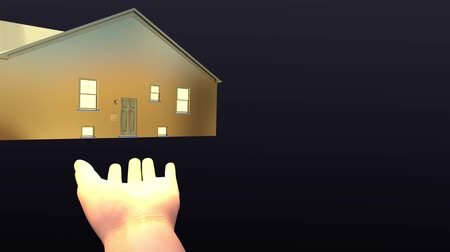 ипотека : Golden house floating on palm. Home insurance and mortgage concept, 3D render Стоковые видеозаписи
