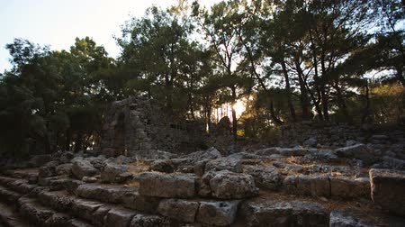 phaselis : Antique ruins of an ancient fortress at sunset