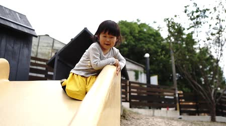 Asian twins playing on the slide