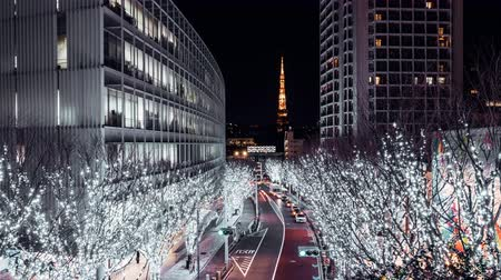 4K UHD panning time-lapse of Tokyo road with beautiful illumination festive light at night, Tokyo tower in background. Japanese light show event, street decoration, or Japan tourism landmark concept