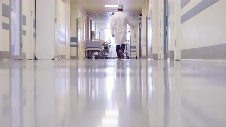 cirurgião : Male Doctor Walking through the Long Hallway in Hospital