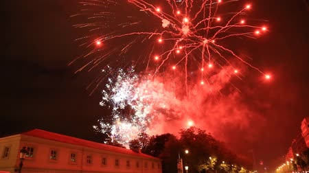 brüksel : Fireworks display with sound during National Day in Brussels , Belgium