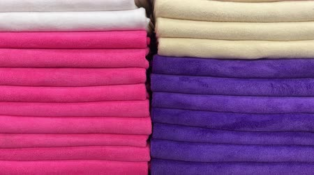 чистый : Close up of colorful towels in the store of shopping mall, Bali. Many towels. Стоковые видеозаписи