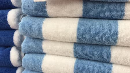 swatches : Close up of colorful towels in the store of shopping mall, Bali. Many towels. Stock Footage