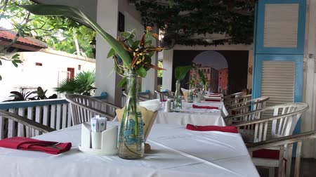 conference table : Interior of italian restaurant on Bali island, Indonesia.