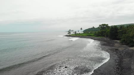 девственница : Aerial view of tropical virgin beach with black sand. Bali island, Indonesia.