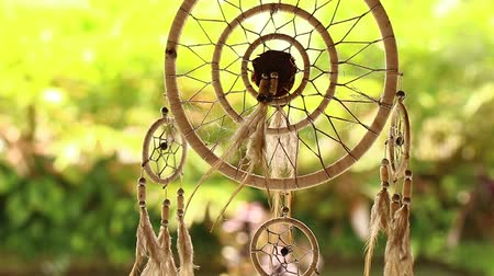 native american culture : Bogo style dream catcher closeup on a tropical background.
