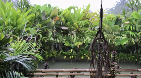 indios nativos : Dreamcatcher at luxury balinese villa. Raining season. Rain drops. Nature background. Archivo de Video