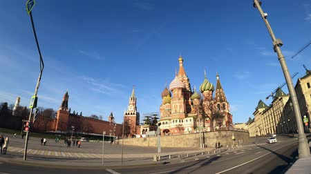 MOSCOW, RUSSIA - NOVEMBER 23, 2019: Saint Basil cathedral. 60 fps.