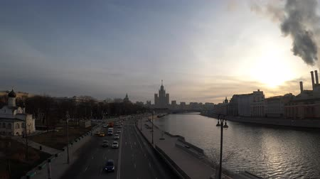 stalin : MOSCOW, RUSSIA - NOVEMBER 24, 2019: View on Moscow river at Kotelnicheskaya embankment.