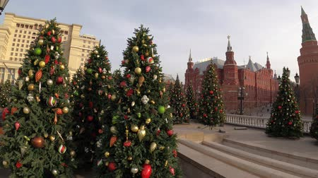 homály : MOSCOW, RUSSIA - NOVEMBER 24, 2019: Christmas trees on Manezhnaya square, Kremlin, Red Square. Stock mozgókép