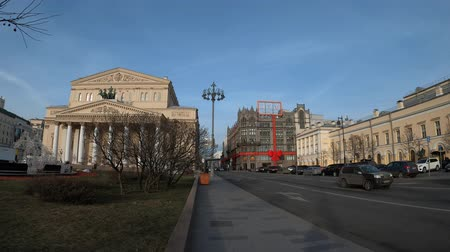 MOSCOW, RUSSIA - NOVEMBER 24, 2019: TSUM and Bolshoi theatre.