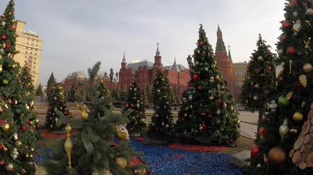 MOSCOW, RUSSIA - NOVEMBER 24, 2019: Christmas trees on Manezhnaya square, Kremlin, Red Square. Stockvideo