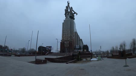 MOSCOW, RUSSIA - NOVEMBER 24, 2019: Worker and Kolkhoz Woman Steel monument at cloudy weather. Hyperlapse.