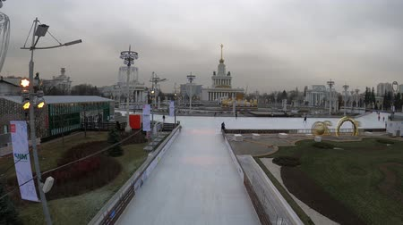 павильон : MOSCOW, RUSSIA - NOVEMBER 27, 2019: Big city ice skating rink at VDNKh.