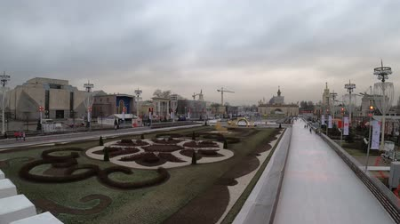 pavilion : MOSCOW, RUSSIA - NOVEMBER 27, 2019: Big city ice skating rink at VDNKh.