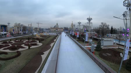посетитель : MOSCOW, RUSSIA - NOVEMBER 27, 2019: Big city ice skating rink at VDNKh.