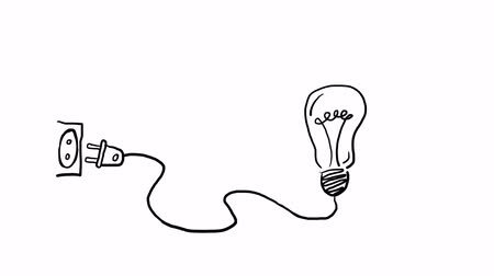электричество : Hand drawn animated light bulb invention or idea concept Стоковые видеозаписи