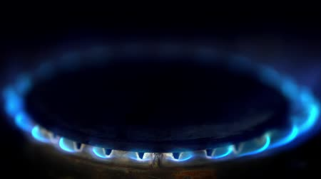 compelling : Close up of gas stove blue flame lit in a dark kitchen Stock Footage