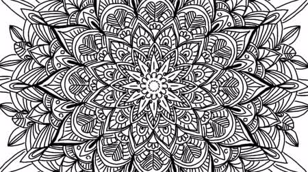 yuvarlak : Abstract ornamental digital hand drawn mandala footage. Floral vintage tattoo decorative elements oriental islam pattern Stok Video