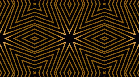 tło retro : Seamless Art Deco animation of multiple striped rhombus shapes. Loop gold background. 4k