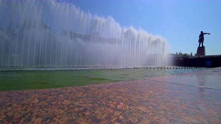 lenin : Fountain complex in Moskovskaya square in St. Petersburg in summer day.