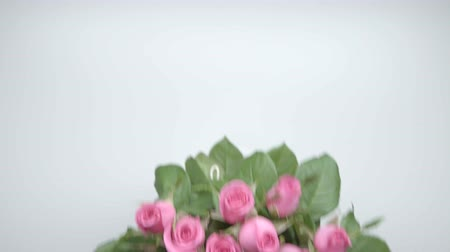 darling : Bouquet of roses on the table. one Stock Footage