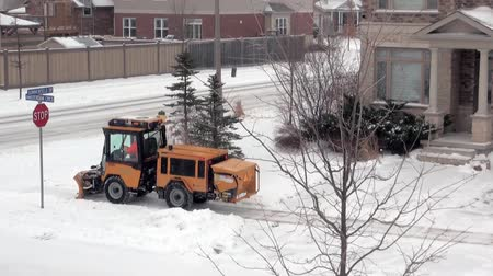 snow removal : Snow cleaning in urban pedestrian areas and sidewalks Stock Footage